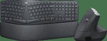 Logitech K860 + Logitech MX Vertical Ergo Muis