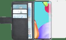 Azuri Wallet Samsung Galaxy A52 Book Case Zwart + Azuri Tempered Glass Screenprotector