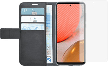 Azuri Wallet Samsung Galaxy A72 Book Case Zwart + Azuri Tempered Glass Screenprotector