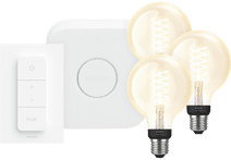 Philips Hue Decoratieve Globe Warmwit Licht E27 Bluetooth 3-Pack Startpakket met bridge