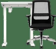 Worktrainer StudyDesk Bureau 80 x 80 Wit/Wit + Interstuhl Bureaustoel