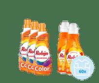 Robijn Klein & Krachtig Color Pakket - 3x Wasmiddel en 2x Wasverzachter