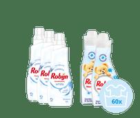 Robijn Klein & Krachtig - 3x Wasmiddel Stralend Wit en 2x Jasmijn & Sandelhout Wasverzacht