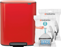 Brabantia Bo Pedal Bin 2x 30 Liter Passion Red + Trash Bags (80 units)