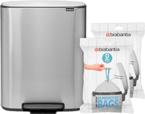 Brabantia Bo Pedal Bin 2 x 30L Stainless Steel fingerprint-proof + Trash Bags (80 units)