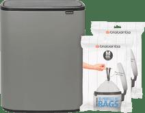 Brabantia Bo Touch Bin 60L Mineral Concrete Gray + Trash Bags (60 units)