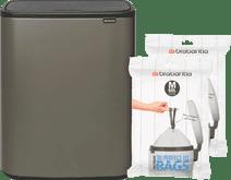 Brabantia Bo Touch Bin 60 Liter Platinum + Trash Bags (60 units)