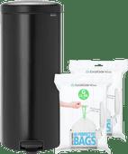 Brabantia NewIcon Pedal Trash Can 30L Matte Black + Trash Bags (80 units)