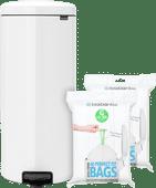 Brabantia NewIcon Pedaalemmer 30 Liter Wit + Vuilniszakken (80 stuks)