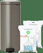 Brabantia NewIcon Pedaalemmer 30 Liter Platinum + Vuilniszakken (80 stuks)