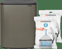Brabantia Bo Touch Bin 2 x 30 Liter Platinum + Vuilniszakken (80 stuks)