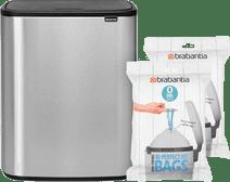 Brabantia Bo Touch Bin 2 x 30 Liter Staal Vingerafdruk Proof + Vuilniszakken (80 stuks)