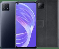 OPPO A73 128GB Zwart 5G + Azuri OPPO A73 Wallet Book Case Zwart