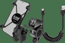 RAM Mounts Tough Claw Telefoonhouder Motor met Lader en Micro Usb Kabel
