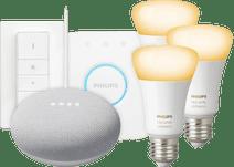 Philips Hue White Ambiance Starter Pack E27 + Google Nest Mini White
