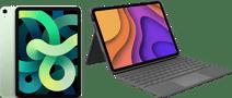 Apple iPad Air (2020) 10.9 inch 256 GB Wifi + 4G Groen + Logitech Touch Toetsenbord Hoes