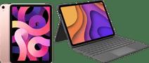 Apple iPad Air (2020) 10.9 inch 256 GB Wifi + 4G Roségoud + Logitech Toetsenbord Hoes