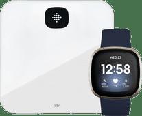 Fitbit Versa 3 Midnight/Soft Gold + Fitbit Aria Air White