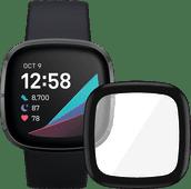 Fitbit Sense Carbon/Graphite + PanzerGlass Fitbit Sense, Versa 3 Screen Protector Glass Bl
