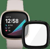 Fitbit Sense Lunar White/Soft Gold + PanzerGlass Fitbit Sense, Versa 3 Screen Protector Gl