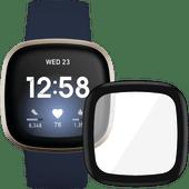 Fitbit Versa 3 Midnight/Soft Gold + PanzerGlass Fitbit Sense, Versa 3 Screen Protector Gla