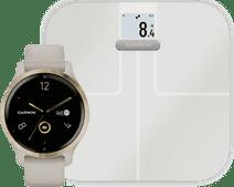 Garmin Venu 2S Goud + Garmin Index S2 Smart - Wit