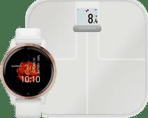 Garmin Venu 2S Roségoud + Garmin Index S2 Smart - Wit