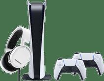 PlayStation 5 Digital Edition + DualSense controller + SteelSeries Arctis 3 2019 Wit