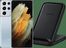 Samsung Galaxy S21 Ultra 512GB Zilver 5G + Samsung Wireless Charger Stand 15W Zwart