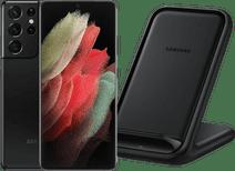 Samsung Galaxy S21 Ultra 256GB Zwart 5G + Samsung Wireless Charger Stand 15W Zwart