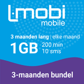 L-mobi simkaart met 3 maanden lang elke maand 1GB, 200 minuten & 10 smsjes