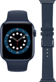 Apple Watch Series 6 44mm Blue Silicone Sport Band + DBramante1928 Leather Strap Blue