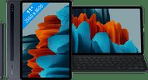 Coolblue-Samsung Galaxy Tab S7 128GB Wifi Blauw + Samsung Toetsenbord Hoes QWERTY Zwart-aanbieding