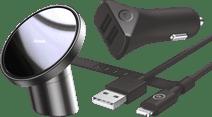 Baseus Universele Telefoonhouder met Magneet + BlueBuilt Autolader 2 Usb Lightning kabel