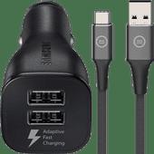 Samsung Adaptive Fast Charging Autolader met 2 Usb Poorten 15W + Usb C Kabel 1,5m Nylon