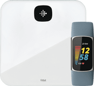 Fitbit Charge 5 Blauw/Zilver + Fitbit Aria Air Wit Fitbit Charge 5