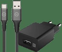 XtremeMac Oplader 12W Zwart + Usb C Kabel 1m Nylon Zwart