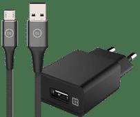 XtremeMac Oplader 12W + BlueBuilt Micro Usb Kabel 1,5m Nylon Zwart