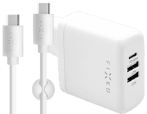 Fixed Power Delivery Charger with 3 USB Ports 60W + USB-C Cable 1m Plastic White