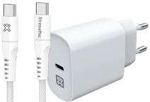 XtremeMac Power Delivery Oplader 30W + Usb C Kabel 2,5m Nylon Wit