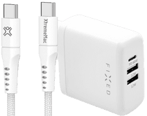 Fixed Power Delivery Charger with 3 USB Ports 60W + XtremeMac USB-C Cable 2.5m Nylon White Samsung Galaxy S21 fast chargers