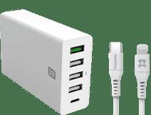 XtremeMac Power Delivery en Quick Charge Oplader 30W + Lightning Kabel 1,5m Kunststof Wit