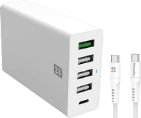 XtremeMac Power Delivery en Quick Charge Oplader 30W + Usb C Kabel 2,5m Nylon Wit