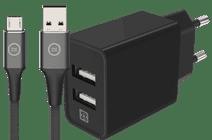 XtremeMac Oplader met 2 Usb A Poorten 12W + BlueBuilt Micro Usb Kabel 1,5m Nylon Zwart