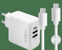 Fixed Power Delivery Oplader met 3 Usb Poorten 45W + Usb C Kabel 1m Kunststof Wit