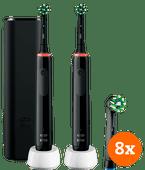 Oral-B Pro 3 3500 Zwart Duo Pack + CrossAction opzetborstels (8 stuks)