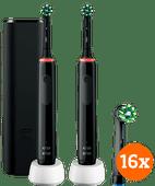 Oral-B Pro 3 3500 Zwart Duo Pack + CrossAction opzetborstels (16 stuks)
