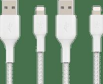 Belkin Usb A naar Lightning Kabel 1m Nylon Wit Duo Pack Kabels voor Apple apparaten