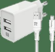 XtremeMac Oplader met 2 Usb A Poorten 12W + Usb C Kabel 2m Nylon Wit