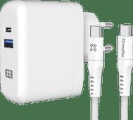 XtremeMac Power Delivery Oplader met 2 Usb Poorten 30W + Usb C Kabel Nylon 2,5m Wit Samsung opladers
